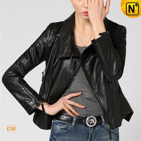 womens black leather moto fitted cropped black leather moto jacket cw650036