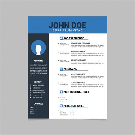 Curriculum Template by Curriculum Vitae Template Design Vector Free