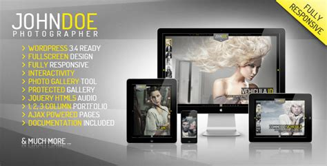j doe responsive photography wordpress theme