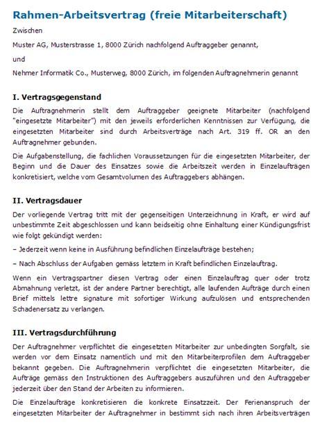 Vorlage Praktikumsvertrag Schweiz Vertrag Freier Mitarbeiter Rahmenvertrag Zum