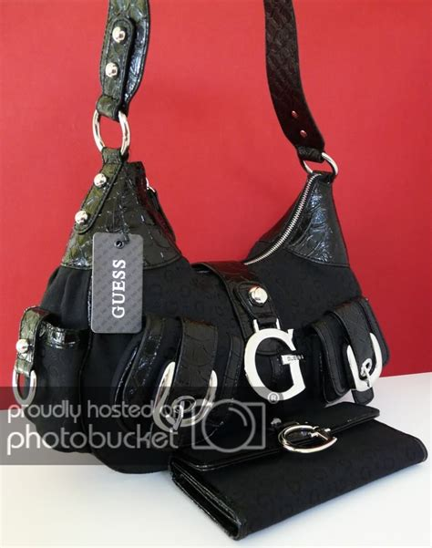 New Original Guess Hobo Black new guess black primary handbag purse bag hobo wallet 2 pc