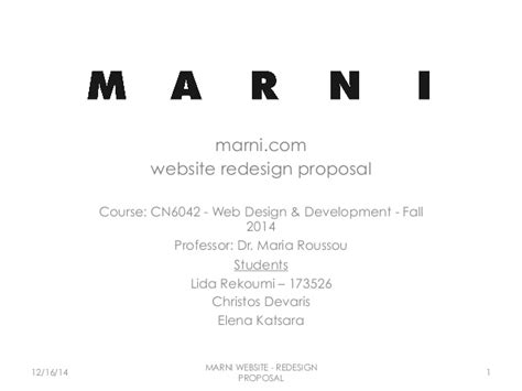 dr web design proposal vol site redesign proposal for marni
