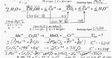 heritage high school chemistry 2010 11 more balancing complex redox reactions practice