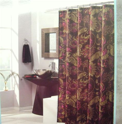 burgundy and gold shower curtain west st design lorelei fabric shower curtain 70x72