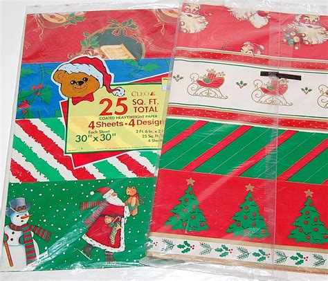 1970 80s christmas gift wrap 8 designs made in usa