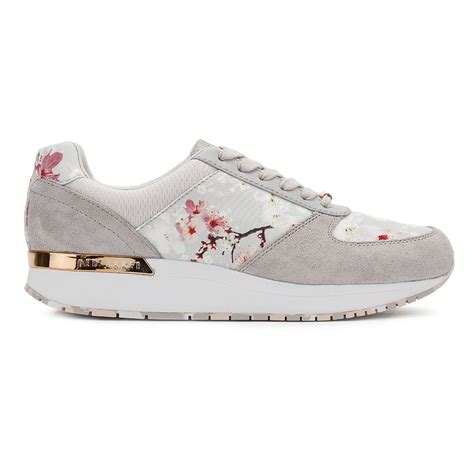 teds shoe and sport ted baker womens grey trainers blossom esmay