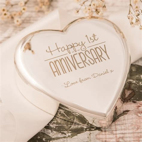 Wedding Anniversary Engraved Gifts by Engraved Shaped Paperweight Happy 1st Anniversary