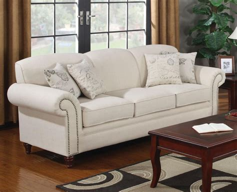 cream colored couches oatmeal cream colored sofa with nail head trim by coaster