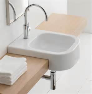 recessed sinks bathroom semi recessed contemporary white ceramic bathroom sink by