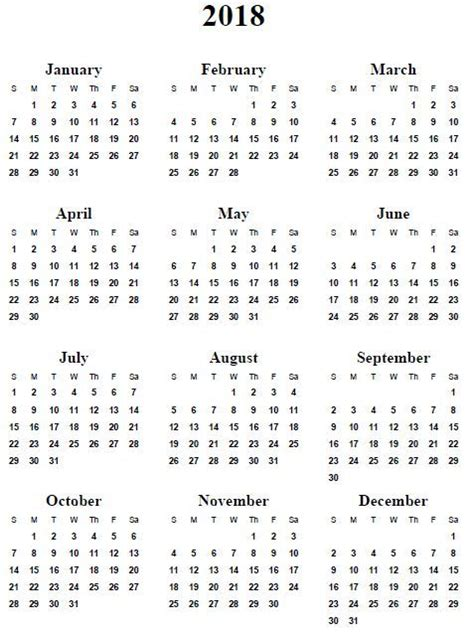 Printable Calendar 2018 Mini | 2018 calendar printable 2017 printable calendar mini