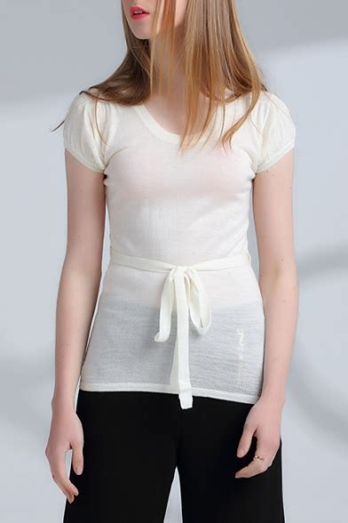 neck sleeve tie waist fitted plain pullover