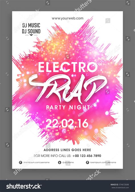 electro trap party night celebration flyer banner or