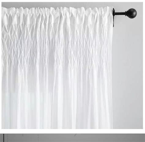 white cotton curtains 63 pottery barn smocked sheer organic cotton white curtains