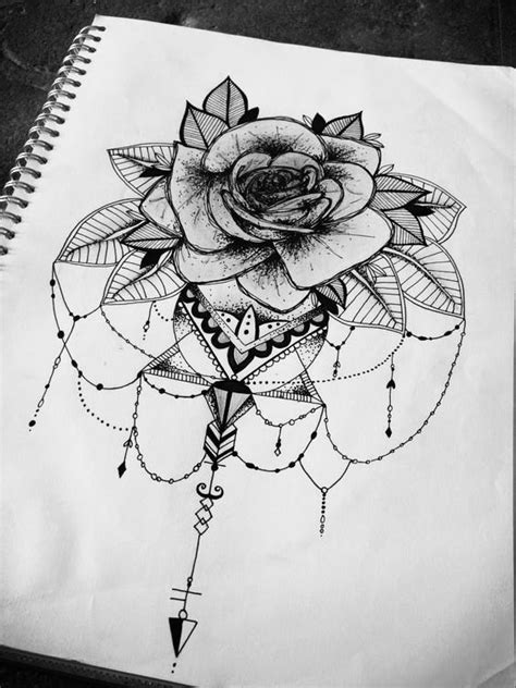 floral rose mandala geometric tattoo design illustration