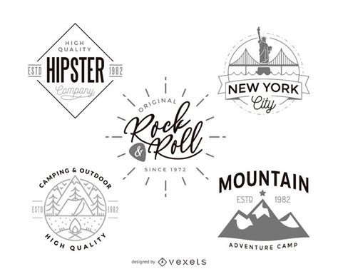hipster logo template design collection vector download
