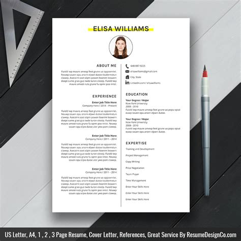 simple and clean resume template word resume cv template