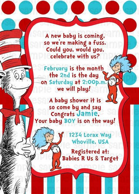 Dr Seuss Themed Baby Shower Invitations by Dr Seuss Cat In The Hat Baby Shower Invitation By