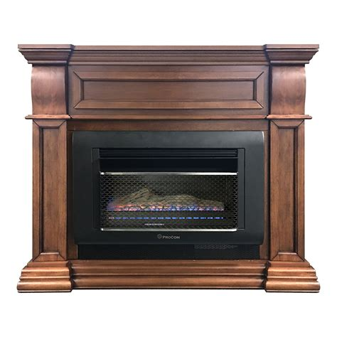 mini hearth space heater with log and mantel surround