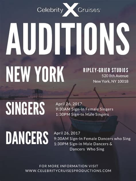 celebrity singers auditions open auditions for singers for celebrity cruises