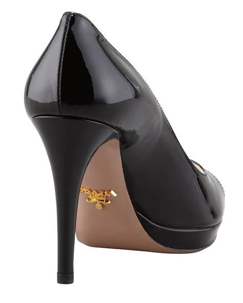 Prada Details Another Heel by Lyst Prada Patent Peep Toe Black In Black