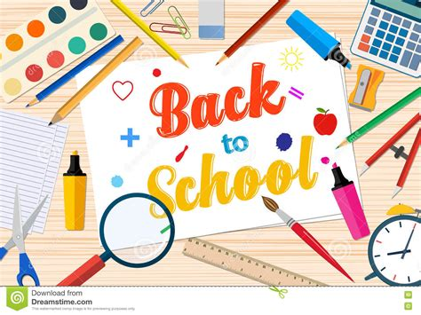 welcome back to school template with office supplies on