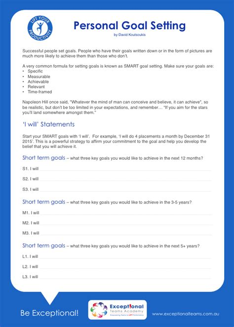 personal goal setting template resource centre faculty 3 productivity