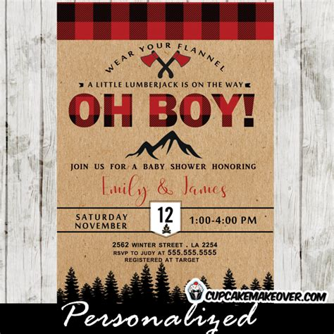 Lumberjack Baby Shower Invitations Wilderness Buffalo Plaid Cupcakemakeover Buffalo Plaid Invitation Template