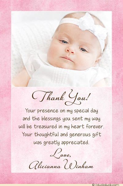 Baptism Thank You Card Template by Christening Baptism Photo Thank You Card Baby