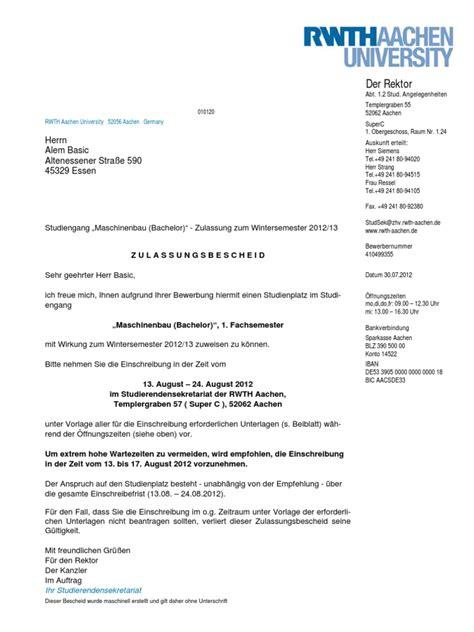 Bewerbung Rwth Zulassung Rwth Aachen Maschinenbau