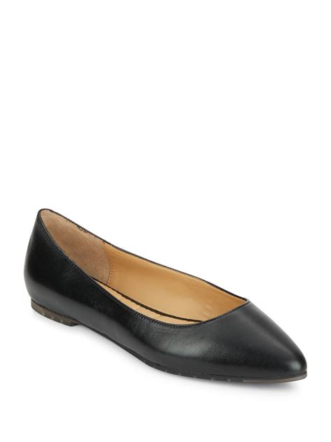 me shoes flats me pointy toe leather flats in black lyst