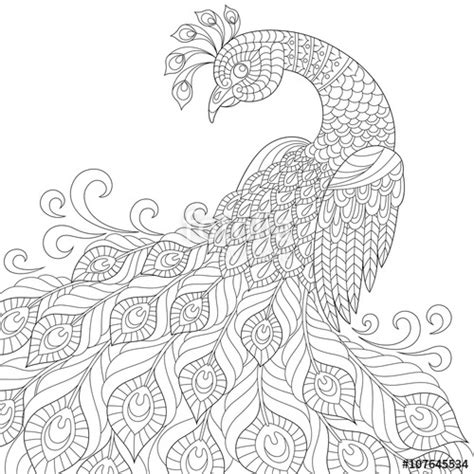 anti stress colouring book doodle and quot decorative peacock anti stress coloring page