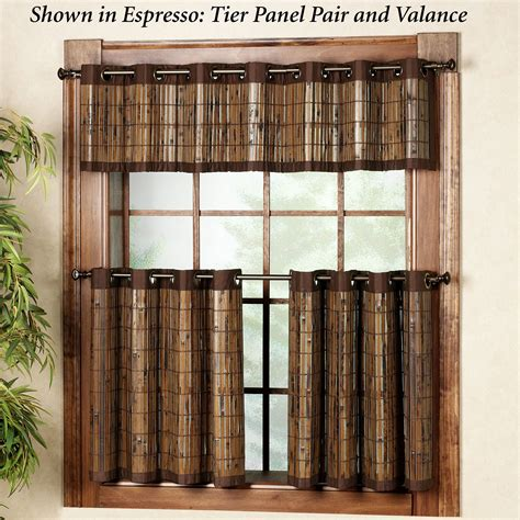 Bamboo Kitchen Curtains Bamboo Grommet Tier And Valance Window Treatment