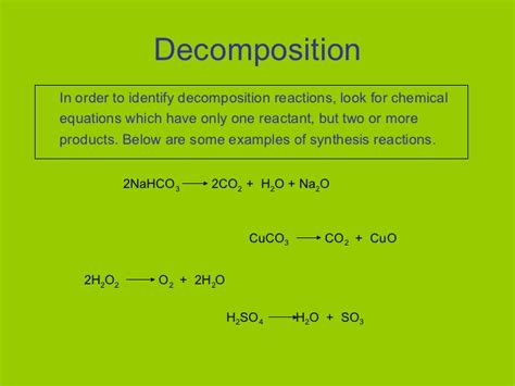 Synthesis Reaction Examples