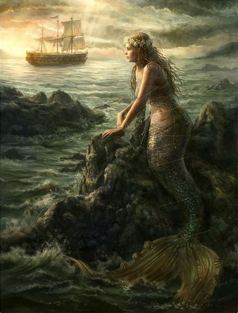 vintage victorian mermaid sea ship canvas antique art