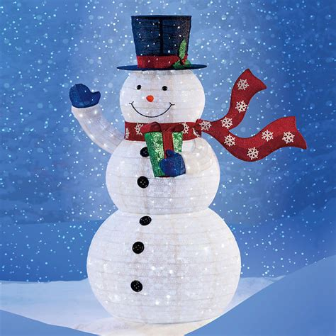 outdoor led lighted snowman pop up snowman with 300 led lights collapsible