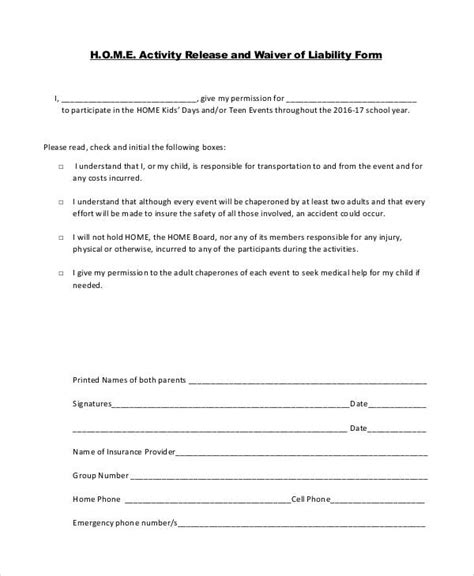 Activity Waiver And Release Form Template 53 Generic Release Forms Sle Templates