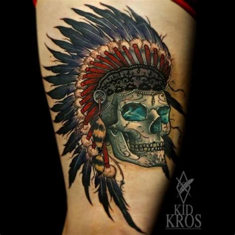 skull kid tattoo traditional indian with flower