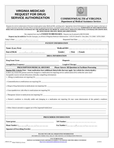 prior authorization form free virginia medicaid prior authorization form pdf
