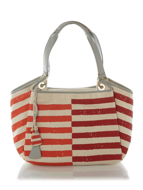 Tote Bag Miyu 16 Radley Wanstead Stripe Canvas Ew Tote Bag In Pink Lyst