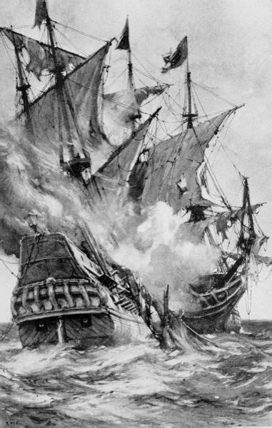 boat crashing drawing drawn sailing ship captain hook pencil and in color