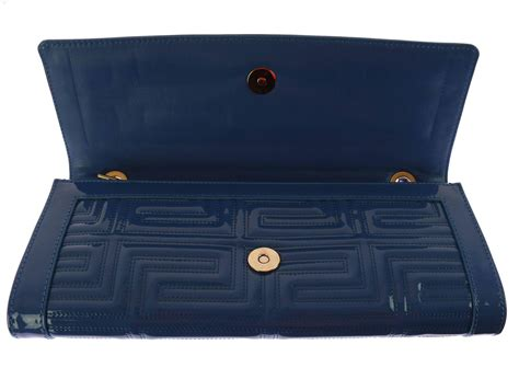 Versace Acrylic Clutch by Gianni Versace Couture Blue Patent Leather Bag Clutch With