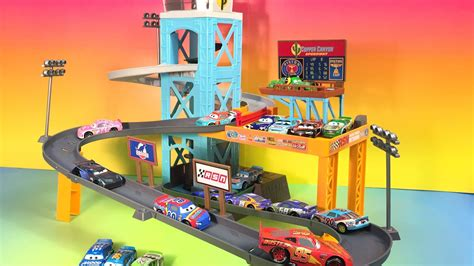 lightning mcqueen motorized car cars 3 piston cup motorized garage track set lightning
