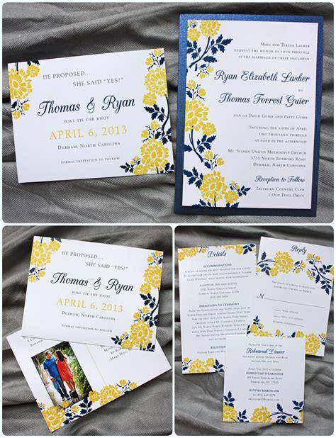 yellow wedding invitations navy blue yellow flower clutch pocket invitations