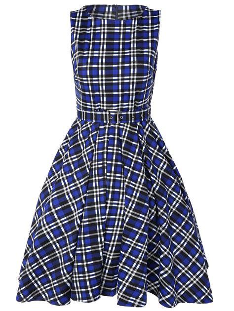 Blue Plaid Belted Dress S M L 19916 belted plaid pattern vintage dress in blue l sammydress