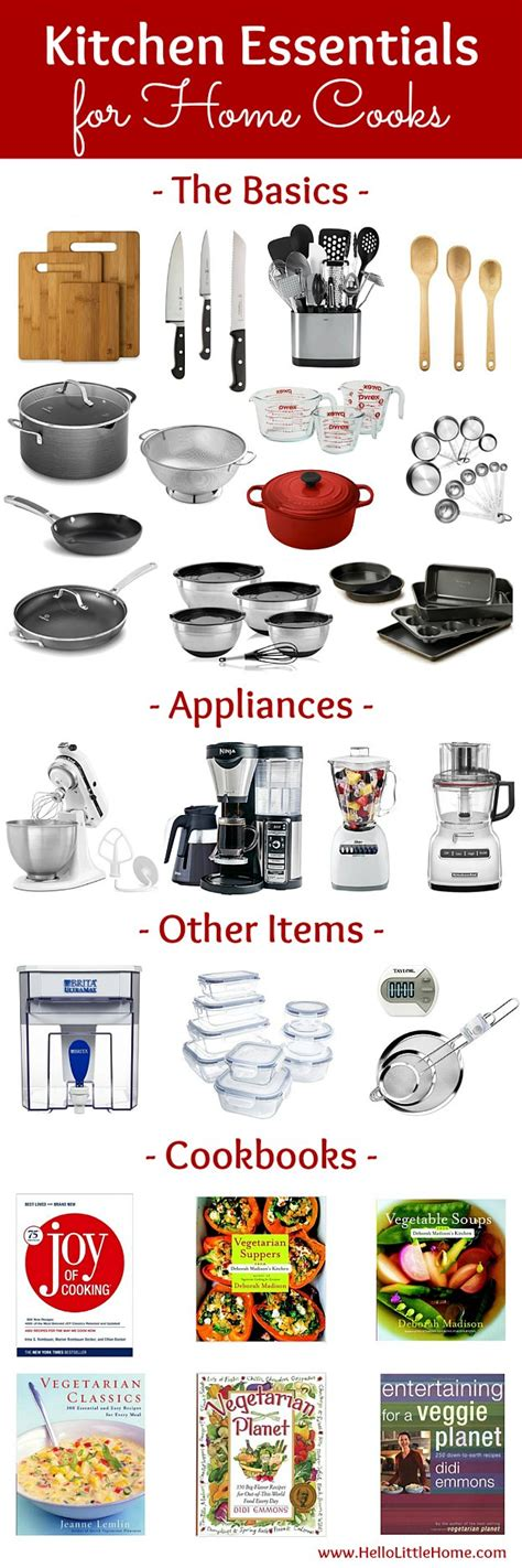 essentials for a new home kitchen essentials list for home cooks hello little home