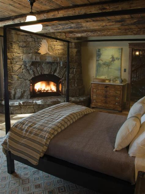 rustic bedroom   post bed  stacked stone