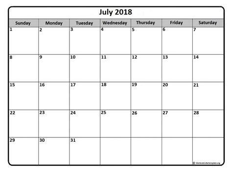 Kalender Juli 2018 July 2018 Calendar Template Monthly Calendar 2017