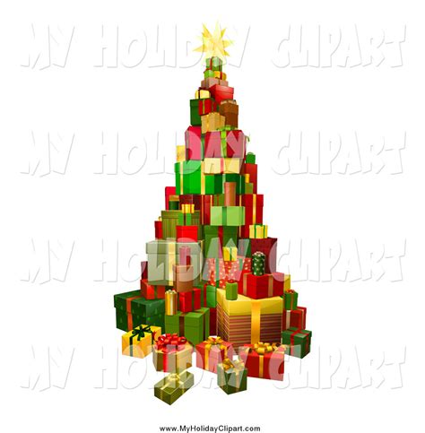 clip art of a 3d christmas tree present tower by