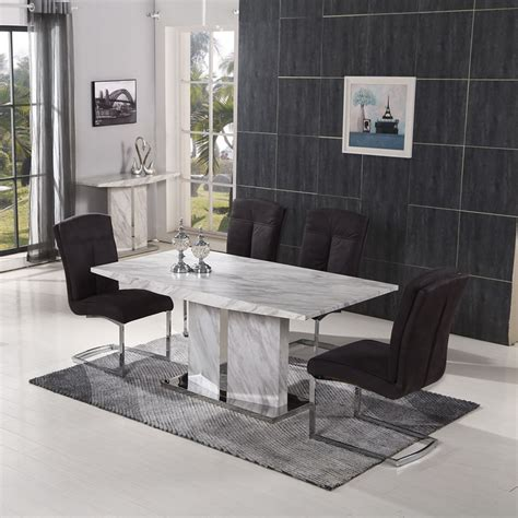 faux marble dining table nicholas dining table with veneer marble finish for modern