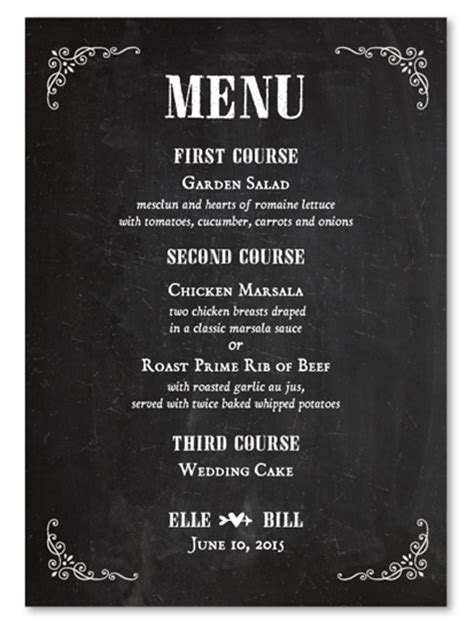 Chalkboard Wedding Menus on 100% recycled paper